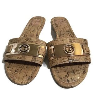 G by Guess Sandals 8 Medium Taupe Logo Slide Tan